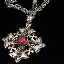 cross stone necklace images Jerusalem cross pendant necklace chain silver red stone vintage jpg