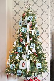aqua and red personalized christmas tree with diy photo ornaments
