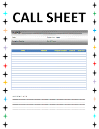 awesome call sheets template images resume samples u0026 writing