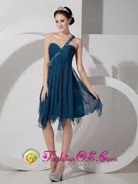 navy blue chiffon prom dress empire beading and ruch knee length