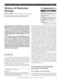 history of molecular biologyhistory of molecular biology
