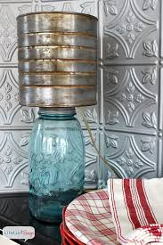 mason jar lamp with faux zinc shade atta says