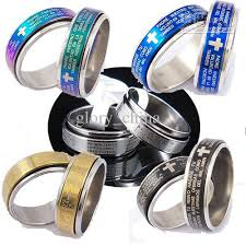 catholic jewelry store mixed bible lord s prayer cross ring spinner stainless steel