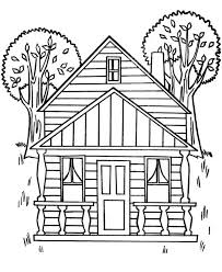 coloring pages houses houses with two big trees coloring page color luna