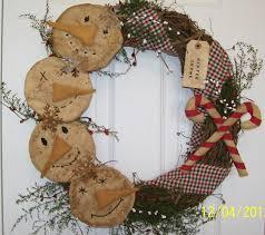 primitive christmas winter country folk art snowman wreath