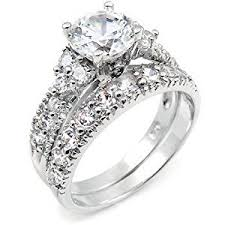 silver wedding ring sterling silver cubic zirconia cz wedding engagement