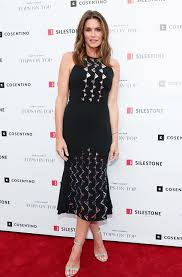cindy crawford in david koma patterned dress for silestone