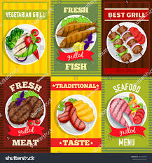 posters cuisine barbecue mini posters set vegetarian grill เวกเตอร สต อก 422424685