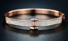 rose gold bangle bracelet images 18k rose gold plated hinge bangle with swarovski crystals by jpg