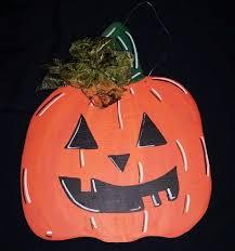 Wooden Halloween Crafts by Pumpkin Wooden Door Hanger Wooden Door Hangers Halloween Themes