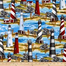 Home Decor Print Fabric by Timeless Treasures Lighthouse Blue Discount Designer Fabric