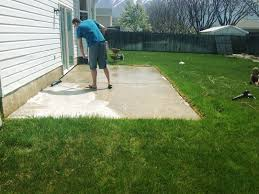 Cracked Concrete Patio Solutions by How To Stain A Concrete Patio Chris Loves Julia