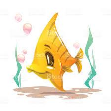 cute cartoon yellow fish on the sea bottom stock vector art