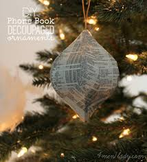 diy phone book decoupaged ornaments holiday pinterest trees