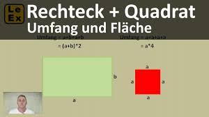 rechteck fläche berechnen rechteck und quadrat umfang und fläche erklärung