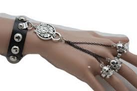 ring with chain bracelet images Black stud silver metal chain bracelet 3 slave ring skeleton skull jpg