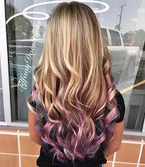 blonde pastel pink purple and blue peekaboo highlights 13 likes