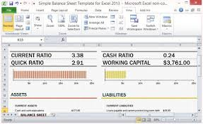 Excel Template For Financial Analysis Simple Balance Sheet Template For Excel 2013 With Working Capital