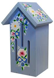 blue butterfly house with roses daisies nature gift store