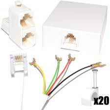 rj11 adsl 4 wire diy telephone cable extension easy fit kit 10m