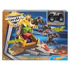 hotwheels monster jam trucks wheels monster jam front flip takedown play set toys r us