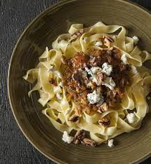 recipe pasta with caramelized onions toasted walnuts and blue