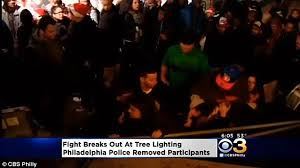 brawl breaks out between two women during christmas tree lighting