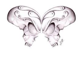 skull butterfly pencil and in color skull butterfly