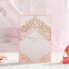 Gold Invitation Card Pink Hollow Gold Foil Shiny Crown Laser Cut Wedding Invitations