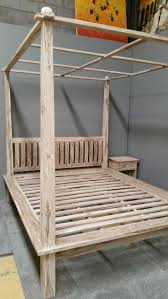 Four Poster Bed Frame Queen by Balinese Teak Wood Hand Carved Minimalist Four Poster Bed White