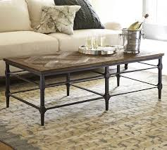 Pottery Barn Connor Coffee Table - parquet reclaimed wood rectangular coffee table pottery barn
