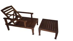 teak wood reclining luxury lounge chair with ottoman