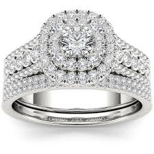 walmart white gold engagement rings imperial 1 carat t w halo 10kt white gold