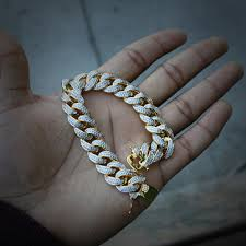 cuban link bracelet images Iced out lab diamond 18k gold cuban link bracelet men 39 s hip hop jpg