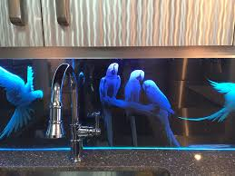 led backsplashes buy a hand made parrots theme custom etched glass led backsplash