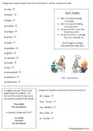 free printable plurals in spanish worksheets packet making nouns