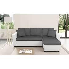canape d angle lit canapé d angle convertible et réversible blanc gris avec