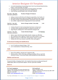 Resume Template For Internship Interior Designer Cv Template Tips And Download U2013 Cv Plaza