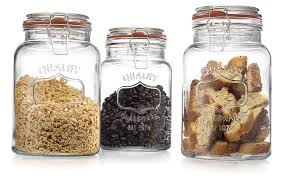 amazon com glass canister quality set of 3 clear round jar with