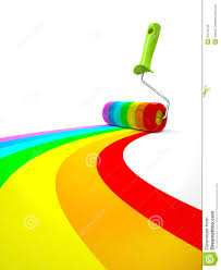 rainbow paint roller isolated on white background royalty free royalty free stock photo