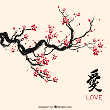 ink cherry blossom vector free