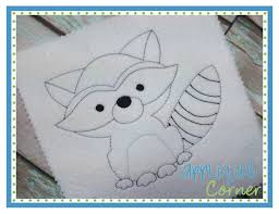 applique corner applique design raccoon sketch embroidery design