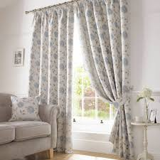 Blue Floral Curtains Hereford Lined Pencil Pleat Curtains Blue