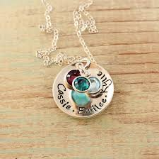 Sterling Silver Name Necklaces Sterling Silver Name Necklace With Birthstones Woobie Beans