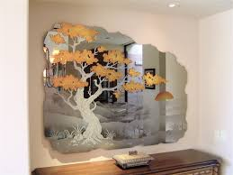 etched decorative mirror wall mural cypress tree a photo on