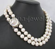 round freshwater pearl necklace images 17 19 quot 3row 10 11mm white round freshwater pearl necklace 925 jpg