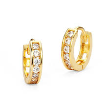 s gold earrings 14k gold plated brass baby channel huggy