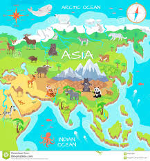 Northern Asia Map by Asia Mainland Cartoon Map With Fauna Species Stock Vector Image