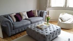 gray chesterfield sofa large ottoman in upholstered pearl grey branagh large footstools