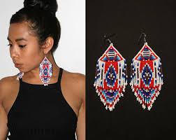 Native American Beaded Earrings Huichol Beautiful Boho Tribal Beaded Earrings Native American Beaded